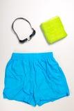 Raccolta del vestito, dei cappucci e dei vetri di nuoto Fotografia Stock