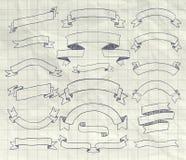 Raccolta del vettore Pen Drawing Ribbons, insegne Fotografia Stock Libera da Diritti