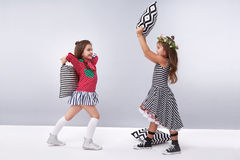 Raccolta dell'abbigliamento della ragazza del vestito piccola sveglia Fotografie Stock Libere da Diritti