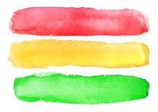 Raccolta dell'acquerello astratto rossa, colpi gialli e verdi della spazzola Immagine Stock