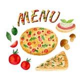 Raccolta dell'acquerello dell'insieme della pizza isolata Ingredienti italiani messi per il menu royalty illustrazione gratis