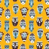 Raccolta dell'Africano del modello di maschere di scarabocchio Fotografie Stock
