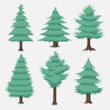 Raccolta dell'albero di verde blu di vettore del fumetto Fotografie Stock Libere da Diritti