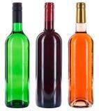 Raccolta dell'alcool rosso della rosa di bianco delle bottiglie di vino isolato su wh Fotografia Stock