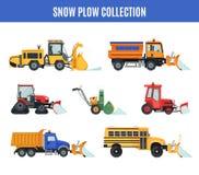 Raccolta dell'aratro di neve nello stile piano su bianco immagine stock
