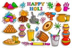 Raccolta dell'autoadesivo per l'oggetto di celebrazione di festa di Holi illustrazione vettoriale
