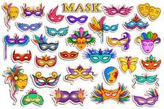 Raccolta dell'autoadesivo per le maschere del partito di travestimento illustrazione di stock