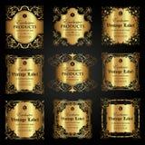 Raccolta dell'etichetta ornamentale di lusso dell'oro nello stile d'annata Immagini Stock