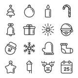 Raccolta dell'icona dell'albero di Natale Fotografia Stock