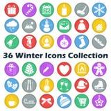 Raccolta dell'icona del cerchio di inverno di colore di vettore Fotografia Stock