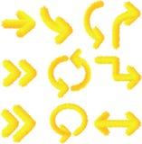 Raccolta dell'icona della freccia isolata pelliccia con la pendenza illustrazione di stock