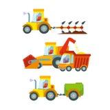 Raccolta dell'icona di macchinario agricolo Fotografia Stock