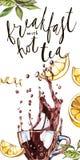 Raccolta dell'illustrazione dell'acquerello sul tè di tema con la iscrizione-prima colazione calda Fotografia Stock