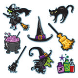 Raccolta dell'illustrazione della strega di Halloween Immagini Stock Libere da Diritti