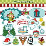 Raccolta dell'illustrazione di festa di Natale del gruppo di lavoro di Santa's Immagine Stock