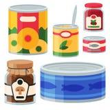 Raccolta dell'illustrazione di vettore del vario delle latte delle merci inscatolate metallo dell'alimento e del contenitore di v illustrazione di stock