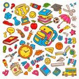 Raccolta dell'illustrazione di vettore di scarabocchio sulla scuola Fotografie Stock