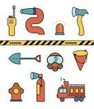 Raccolta dell'insieme di elementi del pompiere, icone dell'illustrazione di vettore Immagini Stock Libere da Diritti