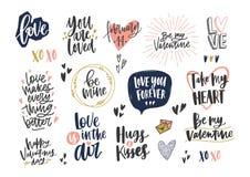 Raccolta dell'iscrizione alla moda di giorno del biglietto di S. Valentino s con le vari frasi, citazioni e desideri di festa dec illustrazione di stock