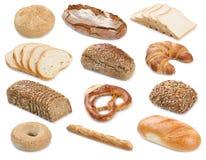 Raccolta dell'iso della ciambellina salata delle baguette del pane tostato del rotolo del bagel dei pani del pane Fotografia Stock