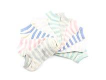 Raccolta dell'isolato colorato dei calzini su fondo bianco Fotografia Stock Libera da Diritti