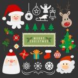 Raccolta dell'ornamento dell'oggetto di vettore di Buon Natale Fotografie Stock Libere da Diritti