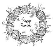 Raccolta dell'uovo di Pasqua nello stile di scarabocchio Illustrazione disegnata a mano Pagina per il libro da colorare adulto Fotografie Stock