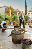 Raccolta dell'uva: festival del raccolto dell'uva nel vil chusclan Fotografie Stock