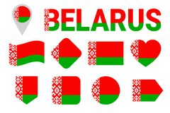 Raccolta della bandiera della Bielorussia Bandiere bielorusse messe Icone isolate piano di vettore con il nome dello stato Colori illustrazione vettoriale
