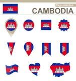 Raccolta della bandiera della Cambogia royalty illustrazione gratis