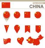 Raccolta della bandiera della Cina illustrazione vettoriale