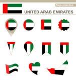 Raccolta della bandiera degli Emirati Arabi Uniti royalty illustrazione gratis