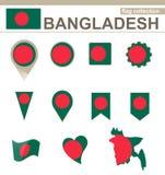 Raccolta della bandiera del Bangladesh illustrazione di stock