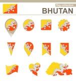Raccolta della bandiera del Bhutan illustrazione di stock