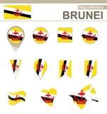 Raccolta della bandiera del Brunei royalty illustrazione gratis