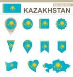 Raccolta della bandiera del Kazakistan illustrazione vettoriale