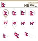 Raccolta della bandiera del Nepal illustrazione di stock