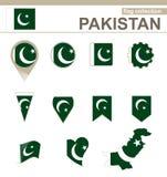 Raccolta della bandiera del Pakistan royalty illustrazione gratis