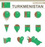 Raccolta della bandiera del Turkmenistan illustrazione vettoriale