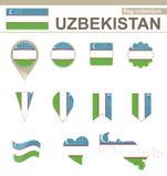 Raccolta della bandiera dell'Uzbekistan illustrazione vettoriale