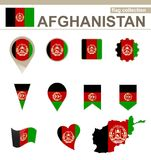 Raccolta della bandiera di Afghanistan royalty illustrazione gratis