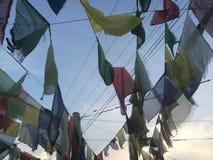 Raccolta della bandiera di preghiera del Nepal Fotografia Stock Libera da Diritti