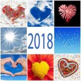 raccolta 2018 della cartolina d'auguri dei cuori Fotografia Stock
