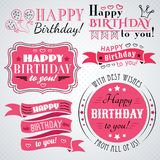 Raccolta della cartolina d'auguri di buon compleanno nella festa Immagini Stock Libere da Diritti