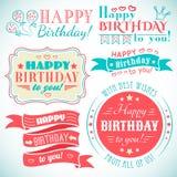 Raccolta della cartolina d'auguri di buon compleanno nella festa Fotografie Stock Libere da Diritti