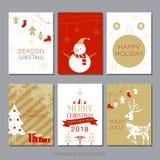 Raccolta della cartolina di Natale, illustrazione di vettore, buon anno 2018 Fotografie Stock Libere da Diritti