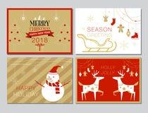 Raccolta della cartolina di Natale, insieme, semplice, moderno, vettore Illustrat Fotografie Stock Libere da Diritti