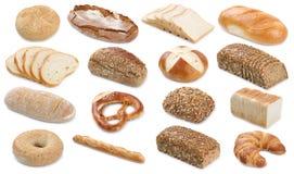 Raccolta della ciambellina salata del pane tostato del rotolo del bagel dei pani del pane isolata Immagine Stock