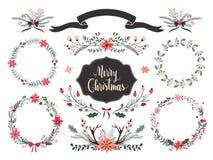 Raccolta della corona di Natale Fotografia Stock