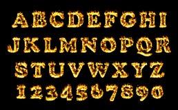Raccolta della fonte del fuoco, alfabeto della fiamma Fotografia Stock